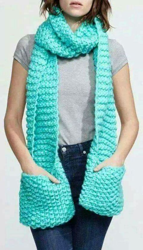 Crochet Scarf With Pockets   EMBROIDERY & ORIGAMI