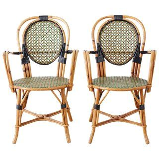 Pair Of French Maison Gatti Rattan Cafe Bistro Chairs For Sale Patio Furnishings Bistro Chairs Outdoor Patio Furniture Sets