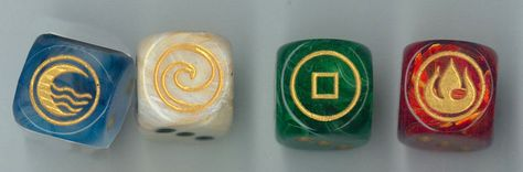 Avatar the LAst Airbender!!! Set of 4 dice represent the 4 Bending Nations. Also sold individually or in pairs. CatMonkeyGames@aol.com