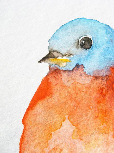 Little Orange and Blue Bird - Original Watercolor Painting