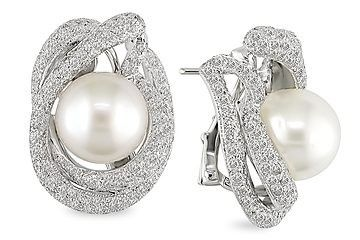 4 1/3 Carat Diamond and 11.5-12mm South Sea Pearl Pearl Earrings 18K White Gold
