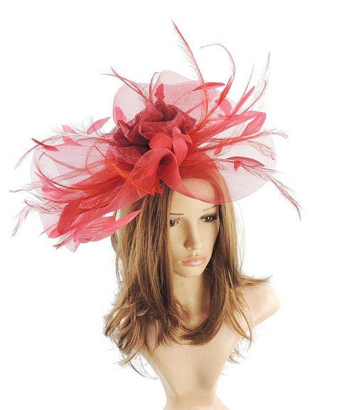 Dark Red Ascot Hat Fascinator for Kentucky Derby 8aef425c4097