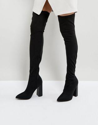 83624660ebf Public Desire Nebraska Black Block Heel Over The Knee Boots   style ...