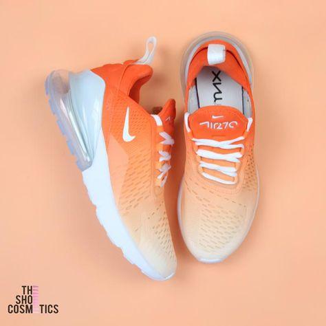 Orange ombre nike air max 270's custom shoes   Nike's Air