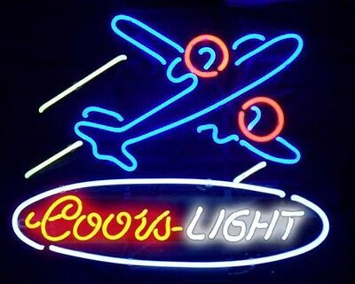 Details About 19 X15 Real Glass Coors Light Airplane Neon Sign Light Beer Bar Pub Wall Decor In 2020 Sign Lighting Neon Signs Light Beer