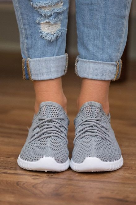 The Bonnie Knit Sneakers Grey   Knit