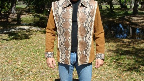 Men's Red and Black Check Barn Jacket, Blue Jeans, Brown