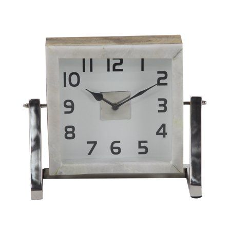 Decmode Modern 10 X 12 Inch Square White Stainless Steel Wood And