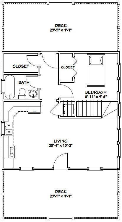 24x24 House 24x24h1b 1 660 Sq Ft Excellent Floor Plans Carriage House Plans 1 Bedroom House Plans House Plan With Loft
