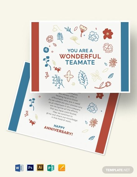 Employee Anniversary Card Template Word Doc Psd Apple Mac Pages Illustrator Publisher Employee Anniversary Cards Id Card Template Card Template