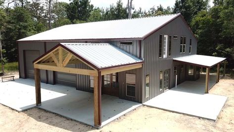 Building GalleryMetal Building Gallery Outstanding metal building homes companies only in metal building home SHOME®: The Ultimate Pole Barn with Living Quarters Carriage House Plans, Pole Barn House Plans, Shop House Plans, House Floor Plans, Pole Barn Garage, Beach House Plans, Cottage House Plans, Barn Plans, Garage Plans