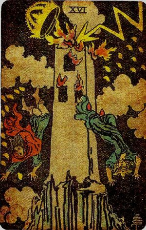 The Tower from the Pamela's Vintage Tarot Deck  For a FREE E