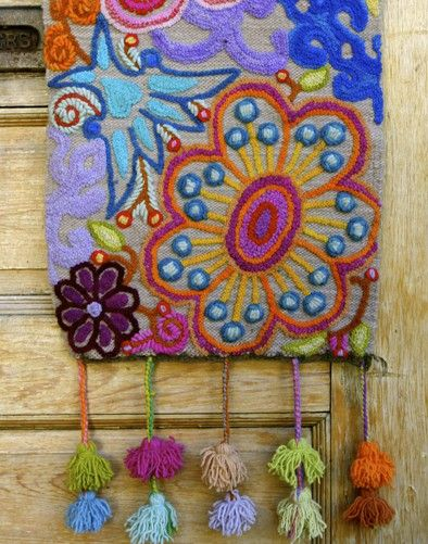 Whimsical Natural Woven Embroidered Table Runner Ornate Embroidery And Stitching Punch Needle Patterns Free Embroidery