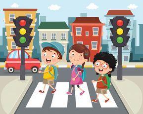 Ilustracion De Ninos Caminando A Traves Del Paso De Peatones Vector Premium Paso De Peatones Ninos Caminando Aula De Arte