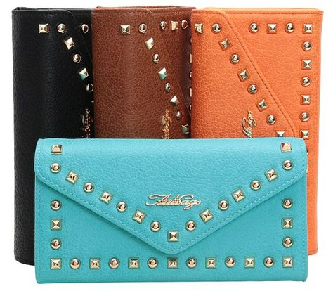 Aitbags Retro Rivets Envelope Style Women Wallet Sky Blue At Amazon