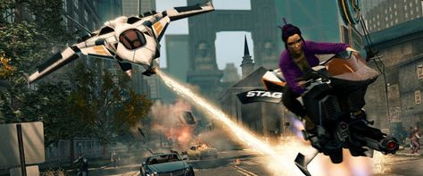 Saints Row: The Third    I like this picture because it shows how much violence this game actually shows and that it is not for young children. Because this game is violent also, this game style is again Action. You can tell because of the laser in the background trying to kill the person on the motorbike or what ever vehicle it is leaving destroyed cars and leaving debris behind.