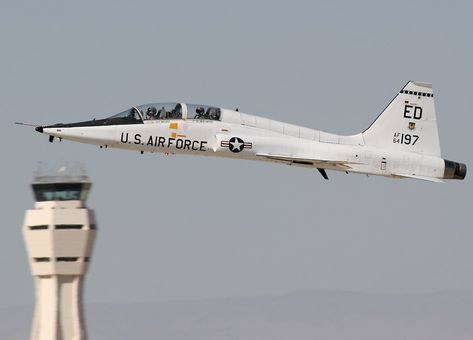 T-38 Talon on takeoff at Edwards AFB. The T-38 Talon is used by the Thunderbirds.