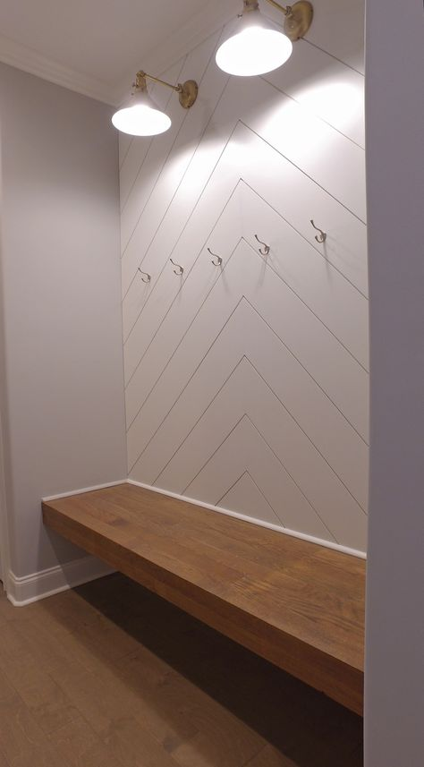 The Merritt Plan- chevron wood, backpack hooks, butcher block floating bench, storage underneath Home Renovation, Home Remodeling, Mudroom Laundry Room, Home Projects, Building A House, Sweet Home, New Homes, Backpack Hooks, House Styles