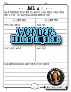 Wonder Movie Compare Contrast Activities Wonder Novel Compare