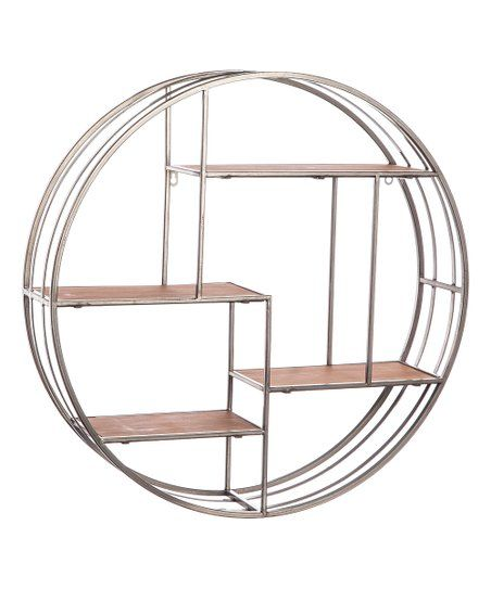 Cypress Home Round Metal Wood Hanging Shelf Zulily Round