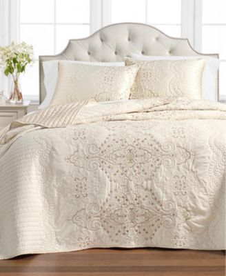 Column Embroidery Bedspread And Sham Collection Created For Macy S Macys Com Bed Spreads Mattress Furniture Twin Bedspreads