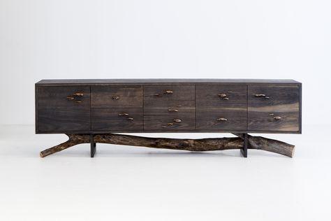 Chris Lehrecke + Gabriella Kiss, After the Storm Collection, acid ebonized white oak dresser w/ bronze mushroom pulls