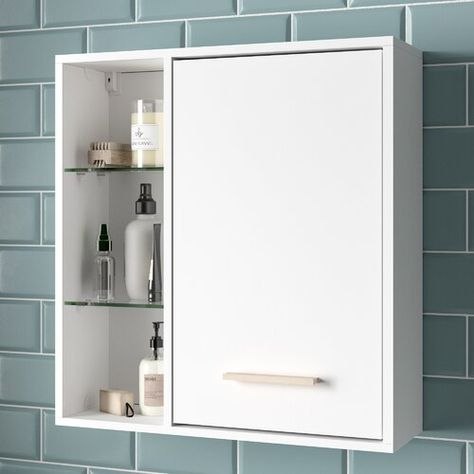 Tompkins 60 X 64cm Wall Mounted Cabinet Mikado Living Colour White In 2020 Bathroom Wall Cabinets Bathroom Tall Cabinet