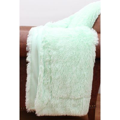 Ivy Bronx Alvarado Faux Fur Throw Color Faux Fur Throw Faux Fur Throw Blanket Blue Throw Pillows