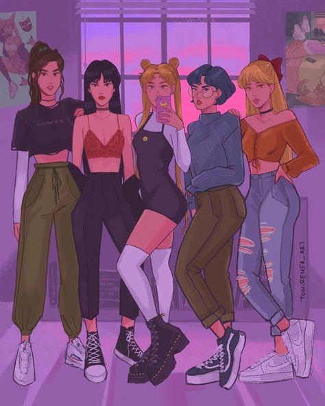 by tonirenea_art // Sailor Moons, Sailor Moon Fan Art, Sailor Jupiter, Sailor Venus, Sailor Moon Manga, Sailor Pluto, Sailor Moon Outfit, Cute Art Styles, Cartoon Art Styles