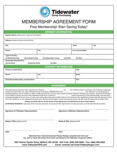 Membership Agreement Template - Invitation Templates - membership - mutual understanding agreement format