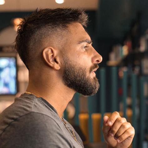 Fohawk Haircut Fade, Beard Haircut, Mens Short Fade Haircut, Men Hairstyle Short, Faded Beard Styles, Hair And Beard Styles, Mens Haircut Styles, Hair Style For Men, Mens Hairstyles With Beard