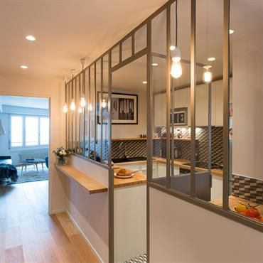 mon entrée et ma cuisine Glass room, Divider and Kitchens - modele de cuisine americaine