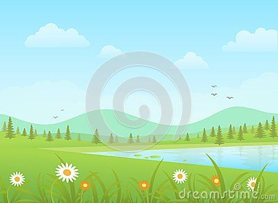 Green Grass With Flowers And Blue Lake On A Mountains Background Nature Vector Landscape Nature Vector Mountain Background Landscape Background