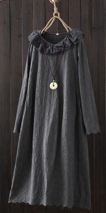 0385a8181e9 Casual Vintage Pure Color Cotton Linen Dresses For Women Q21012 ...