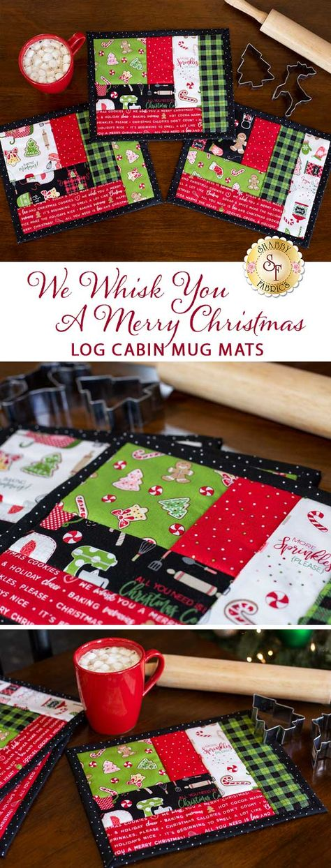Quilt As You Go Log Cabin Mug Mats - We Whisk You A Merry Christmas - Set of 3