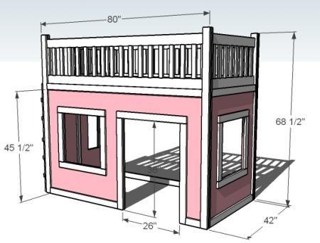 DIY plans for playhouse loft bed