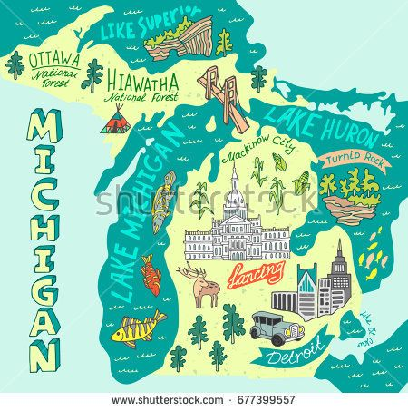 Illustrated Map Of The State Of Michigan Usa Travel And Attractions Illustrated Map Map Of Michigan State Of Michigan
