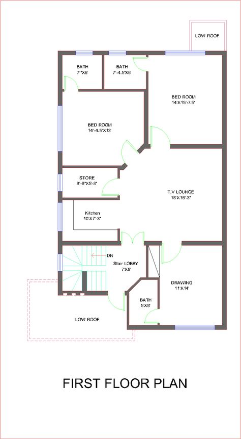 Architectural Design Of 10 Marla Houses House Map