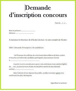 Lettre Demande D Inscription Au Concours D Une Ecole Hand Art