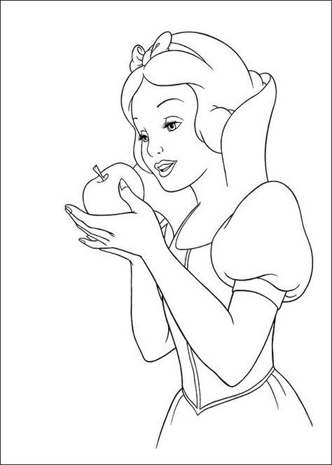 Snow White Apple Coloring Page Märchen Coloriage Blanche Neige