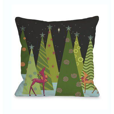 Woodland Christmas Parade 2021 The Holiday Aisle Christmas Tree Parade Square Pillow Cover And Insert In 2021 Christmas Tree Pillow Christmas Pillows Holiday Pillows