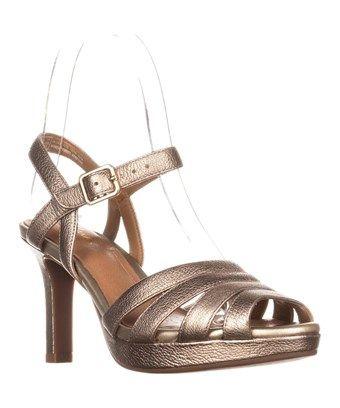 Clarks Mayra Poppy Gold Metallic Sandals, Gold Metallic