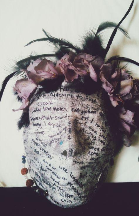 Plaster Mask. Sanded, mod-podged and decorated.