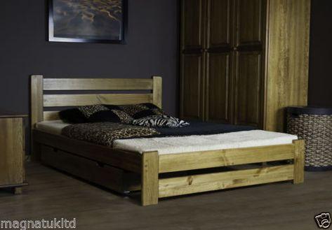 De-Madera-Muebles-De-Dormitorio-King-Size-UE-tamano-160-200cm-Cama ...