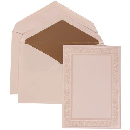 Jam Paper Wedding Invitation Set Large 5 1 2 X 7 3 4 White Card With Taupe Lined Envelope And Ivory Garden Border Set 50 Pack Walmart Com Wedding Invitation Sets Wedding Invitations Sophisticated Wedding Invitations