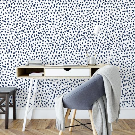 Navy Dalmatian Removable Wallpaper