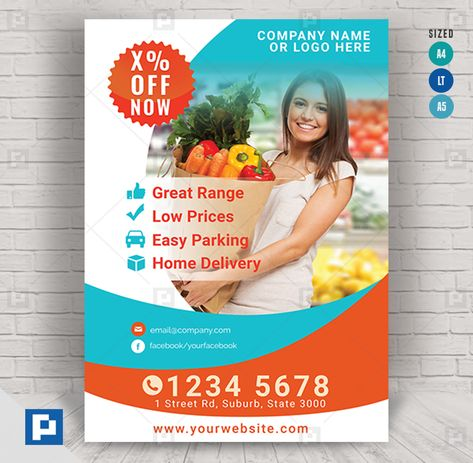 Grocery and Shopping Center Flyer - PSDPixel