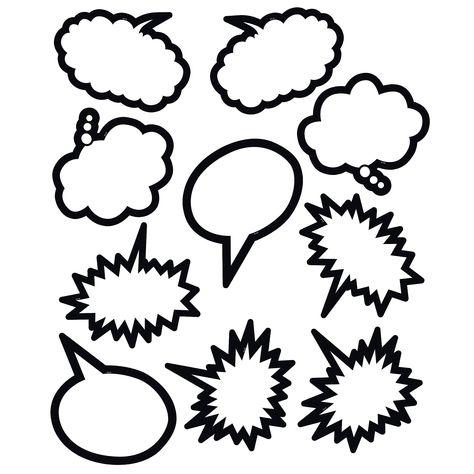 (3 Pk) Superhero Black & White Speech Thought Bubbles Accents