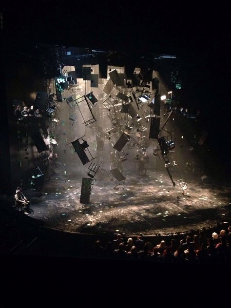 William Shakespere, As You Like It, set design consisting of floating furniture illustrating a forest.