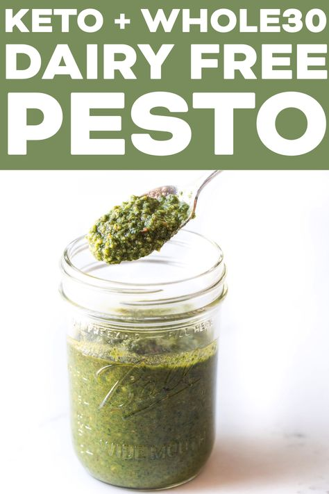 Keto Dairy Free Pesto Sauce Recipe - you don't need the parmesan cheese! Made with fresh basil pinenuts. Keto Pesto Recipe, Paleo Pesto, Dairy Free Pesto, Basil Pesto Recipes, Dairy Free Cheese, Gluten Free Grains, Dairy Free Sauces, Paleo Sauces, Whole30 Recipes